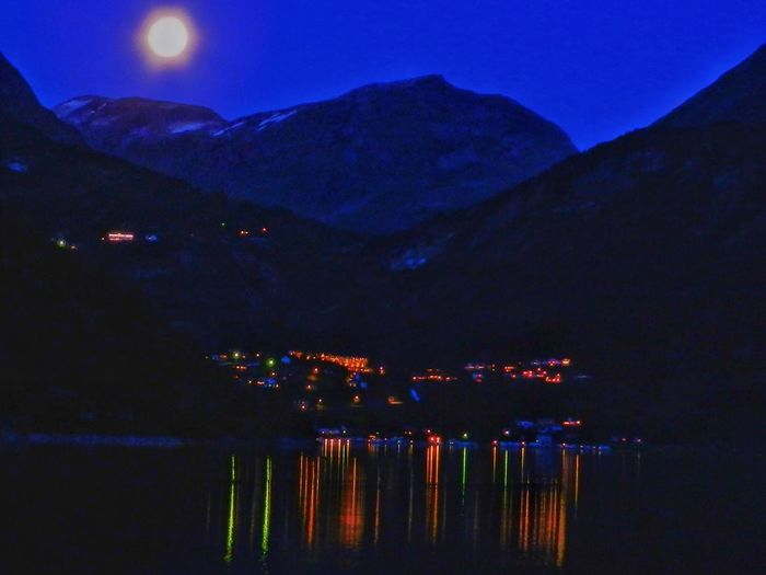 Geirangerfjord Norway Architecture Beauty In Nature Building Exterior Built Structure City Dark Dusk Geiranger Illuminated Lake Light Mountain Mountain Range Nature Night Nightlife No People Outdoors Reflection Scenics - Nature Sky Tranquil Scene Tranquility Water