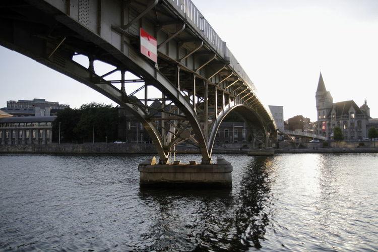 Liege Historique Architecture Built Structure Water Building Exterior Flag River Bridge - Man Made Structure City Connection Tourism