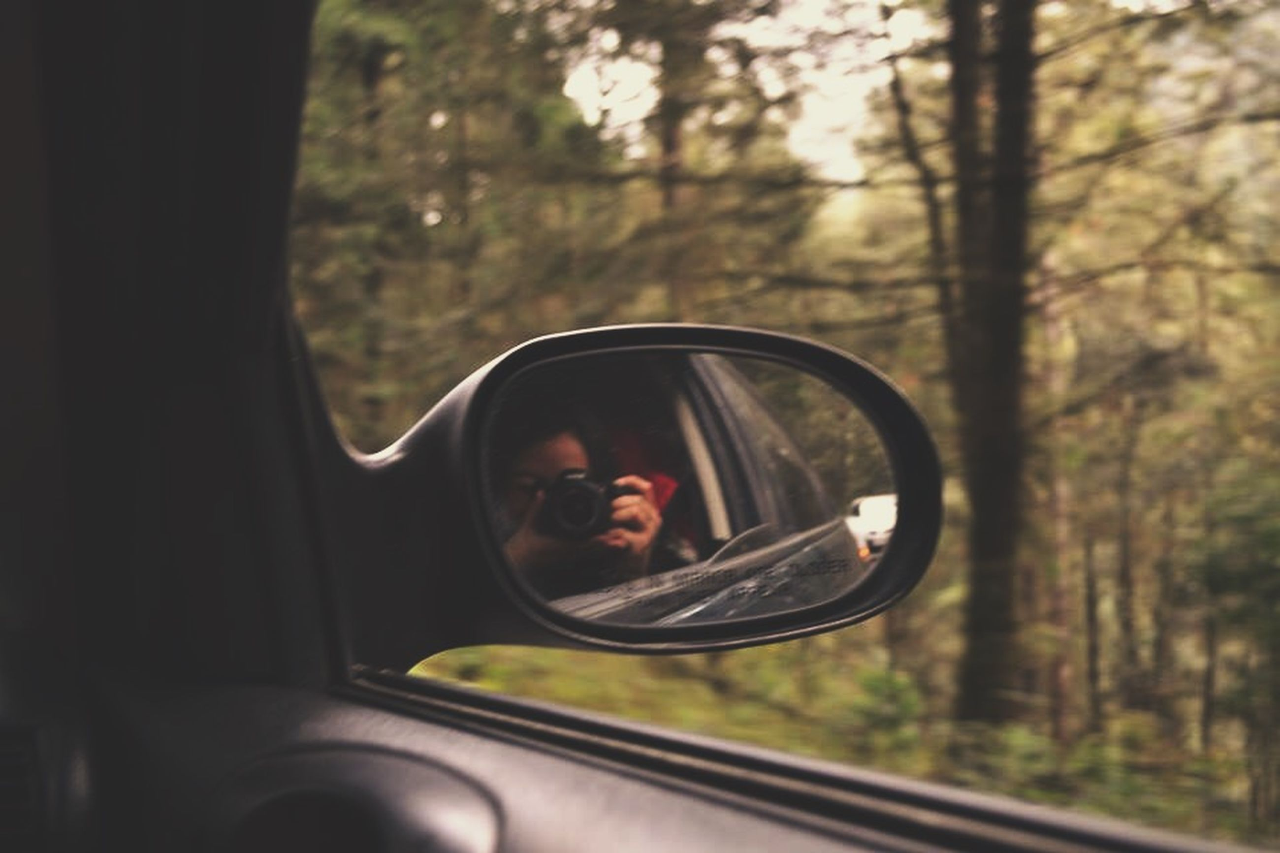 transportation, tree, lifestyles, leisure activity, reflection, mode of transport, car, young adult, sunglasses, land vehicle, window, vehicle interior, transparent, glass - material, person, travel, headshot, looking at camera