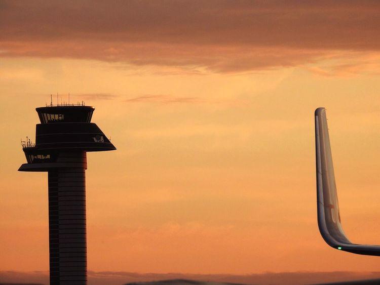 Sunset Sky 767 Ups Airplane Airport Winglet Control Tower Arlanda