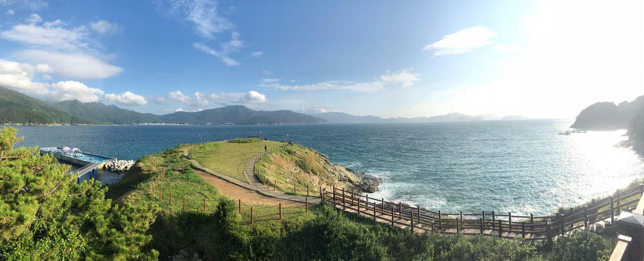 Panoramic Shot of the Windy Hill in Geoje Island, South Korea Shot With Iphone 8s Panoramic Landscape Panoramic View Geoje Island Windy Hill Water Sky Beauty In Nature Scenics - Nature Sunlight Nature Cloud - Sky Tranquility Mountain Sea Day Tranquil Scene Outdoors