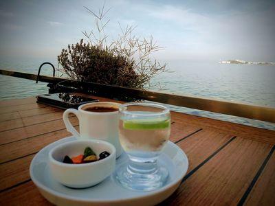 turkish caffee Coffee Turkishcaffe Sea Water Drink Fruit Sea Drinking Glass Table SLICE Wood - Material Plate Sky