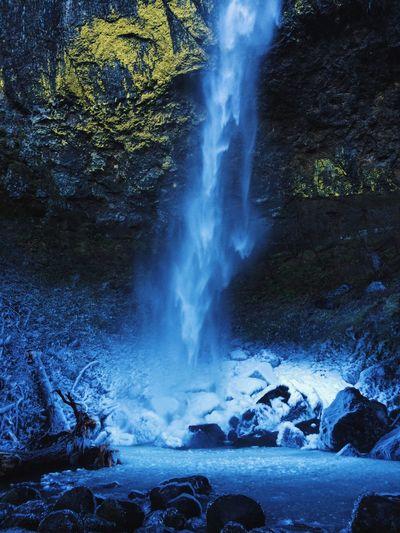 Elowah Falls Pacific Northwest  Elowah Falls Winter Frozen Waterfall Blue Ice