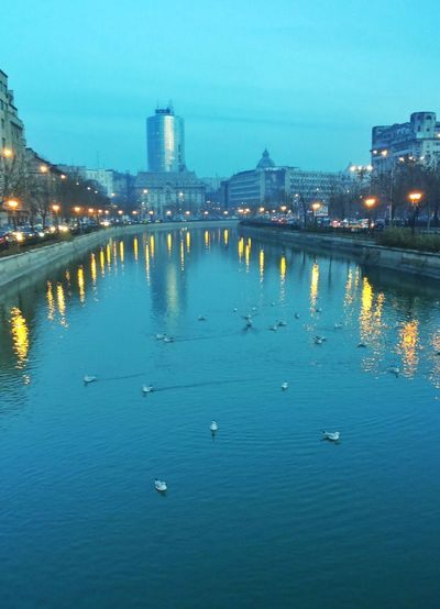 River in city at night