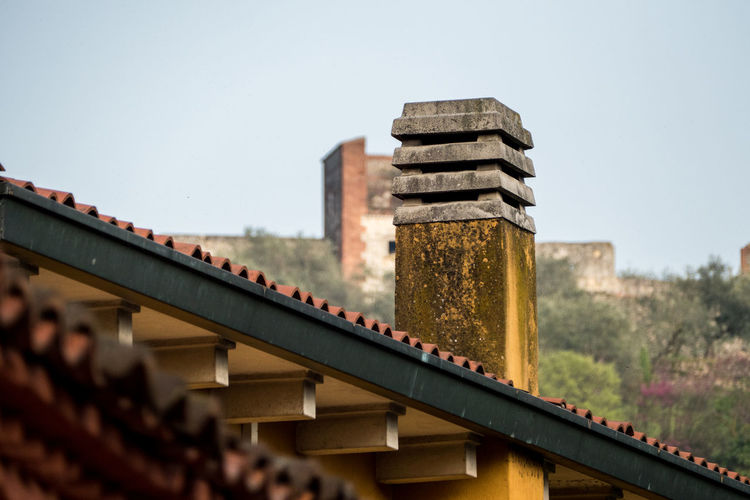 Details of chimney on rooftop
