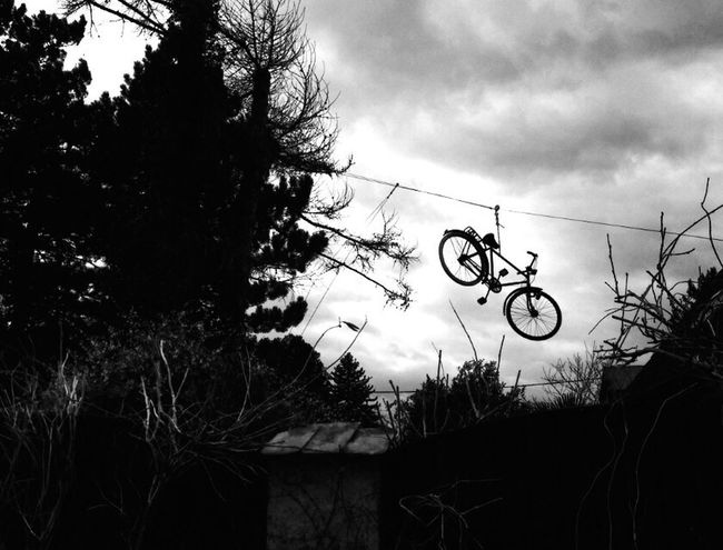 The Magic Mission Bike Bicycle Rope Cable Transportation Sky Blackandwhite Photography Black & White Watchoutfordetails Odd