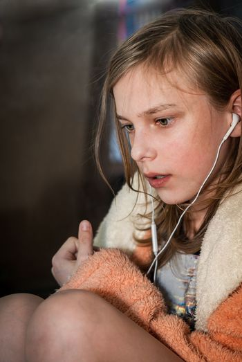 Kid listening to the music