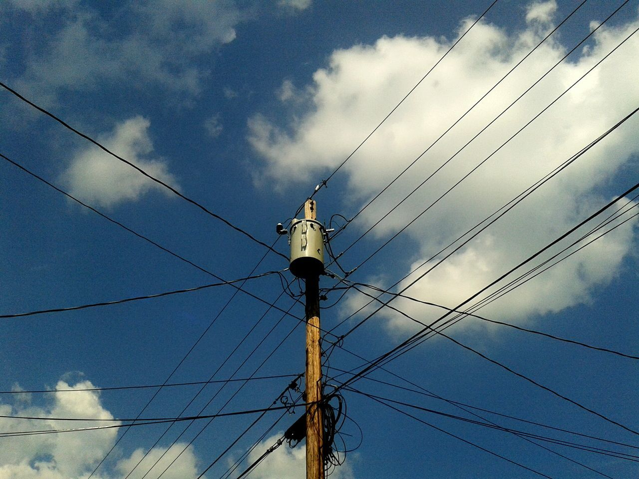 cable, power supply, connection, power line, electricity, low angle view, fuel and power generation, sky, technology, cloud - sky, electricity pylon, day, complexity, no people, outdoors, telephone line, animal themes, animals in the wild, bird, perching, nature
