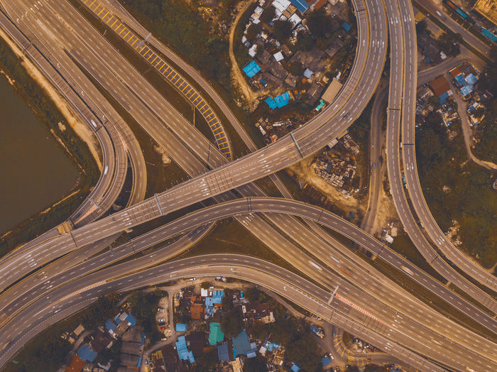 Aerial view of multiple lane highway in city