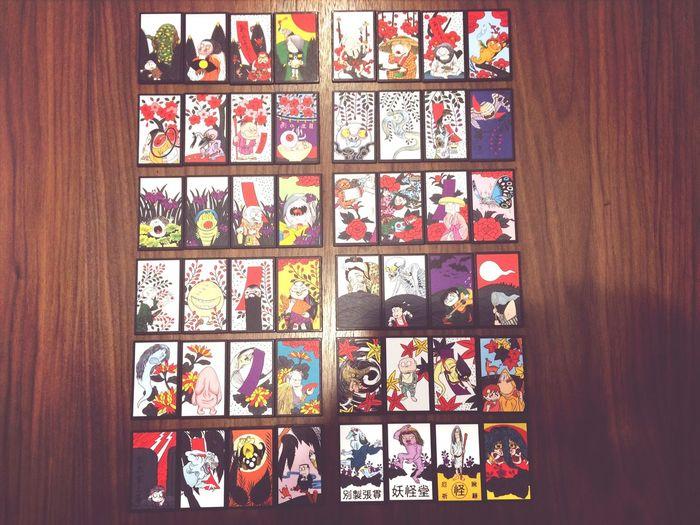Japanese playing cards. 「HANAHUDA」. Game Playing Cards Hanahuda Gegegenokitaro