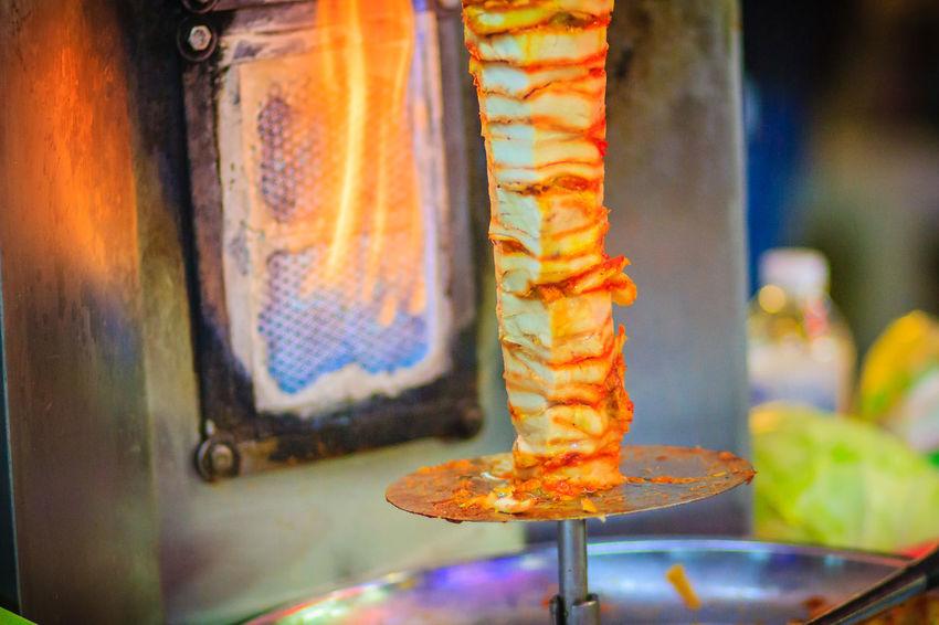 Bangkok, Thailand - March 2, 2017: Street vendor is selling grilled kebab, the popular street foods at Khao San Road night market, Bangkok, Thailand. Kebab Meat Khao San Rd Khao San Road KhaoSan Khaosan Rd. Khaosandroad Tourist Tourist Attraction  Tourists Kebab Kebab Shop Kebabers Khao San Khao San Knok Wua Khao San Rd. Khaosan Road Khaosanroad Night Market Night Market In Thailand Night Market, Tourist Destination