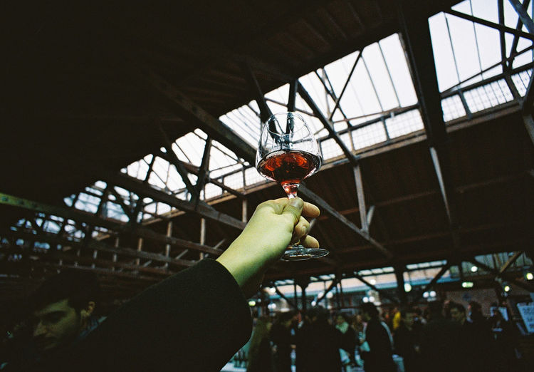 Human Hand Holding Red Wine