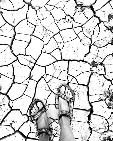 Human Leg One Person Outdoors Day Nature Cracked Close-up Blackandwhite Black & White Human Body Part Arid Climate Standing Low Section Real People Only Women One Woman Only Adults Only People Adult