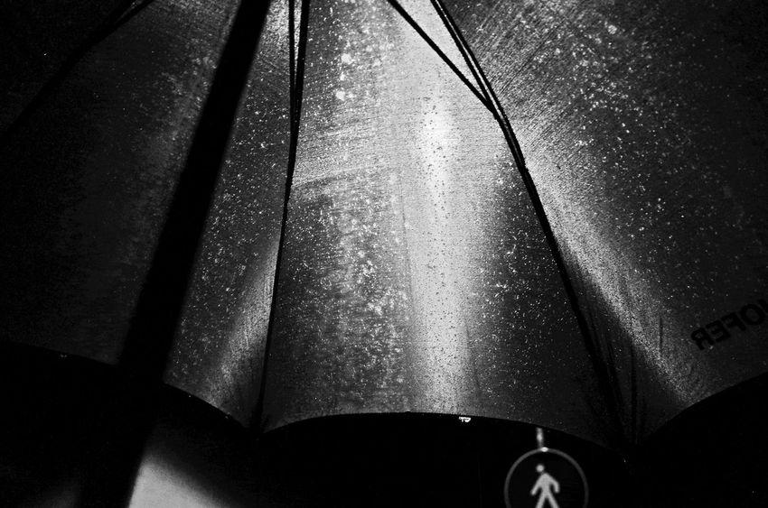 Close-up Diffused Light Fabric Looking Up Looking Up! Night Nightphotography No People Pattern Pattern Pieces Rain Rain Raindrops Rainy Road Sign Street Street Light Umbrella Umbrella☂☂ Water Wet