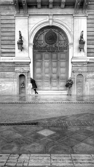 Untold Stories People Waiting Strangers Big City Life Big Door Old Buildings Architecture National Bank Aiolou Athens Athens, Greece Blackandwhite Black And White Black & White Black&white