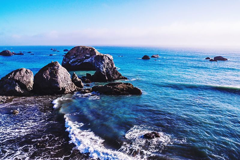 Sonoma Coast Northern California Pacific Ocean Sea Water Sky Horizon Over Water Horizon Beauty In Nature Scenics - Nature Blue Rock Beach Tranquil Scene