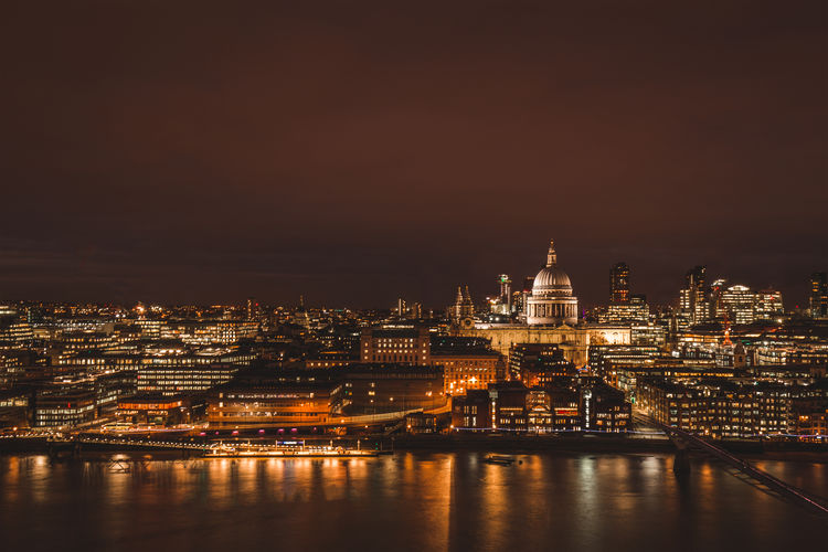 London, England European  Famous Lights London River Thames Skyline St Paul's Cathedral Aerial View Architecture Building Building Exterior City Cityscape Clouds England Europe Illuminated Landmark Long Exposure Moody Night Sky Travel Destinations Uk Water