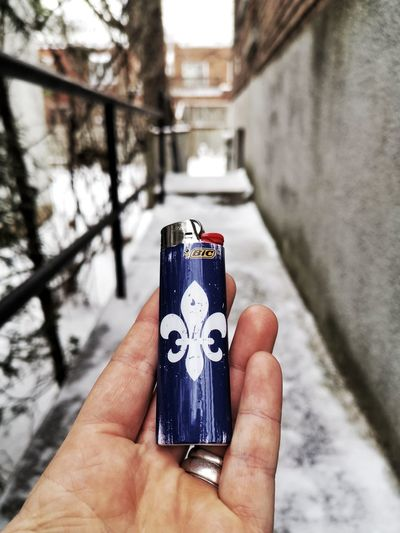 Québec ❄️♥️ Lighter Quebec Montréal Montreal, Canada Bic Lighter Human Hand City Photography Themes Holding Men Personal Perspective Close-up Sky