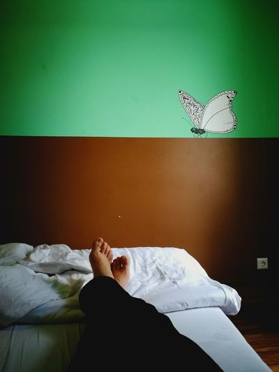 Bed Bedroom Body Part Butterfly - Insect Child Domestic Room Furniture Home Interior Human Body Part Indoors  Leisure Activity Lifestyles Lying Down Men One Person Pillow Real People Relaxation Women