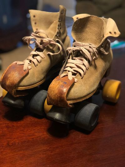 1974 roller skates Shoe Close-up Pair Still Life Indoors  No People Shoelace First Eyeem Photo