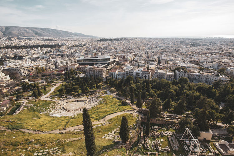 Acropolis Athens Greece Acropolis Architecture Built Structure City Cityscape Sky Building Exterior High Angle View Nature Tree Crowded Residential District Day Outdoors Aerial View Plant Cloud - Sky Building Travel Destinations TOWNSCAPE Ancient Civilization