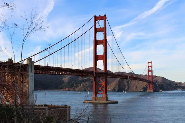 Golden Gate Bridge Connection Sky Transportation Metal Steel Architecture City Travel Destinations Water Outdoors No People Day Cloud - Sky Travel