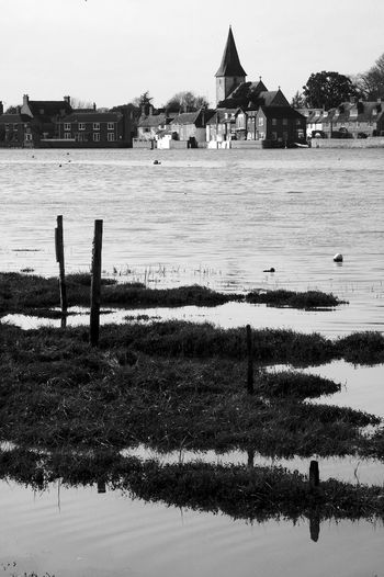 Tide Swamping Bosham Architecture Built Structure Water Building Exterior Nature Wooden Post Post Church Blackandwhite Black And White Tide