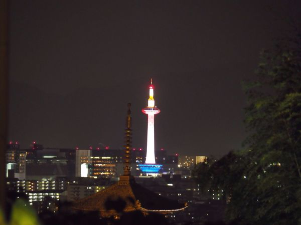 Kyoto Japan Higashiyama Koudaiji Temple Kyoto Tower Lightup Night Night View City View  Spring Yasaka-no-to Olympus PEN-F 京都 日本 東山 高台寺 からの景色 夜景 京都タワー 八坂の塔 夜 春