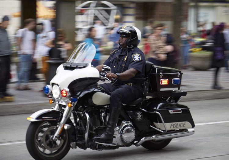 Police Cruiser Police Seattle Westlake Park Biker Headwear City Motorcycle Riding Crash Helmet Blurred Motion Motion Motorbike