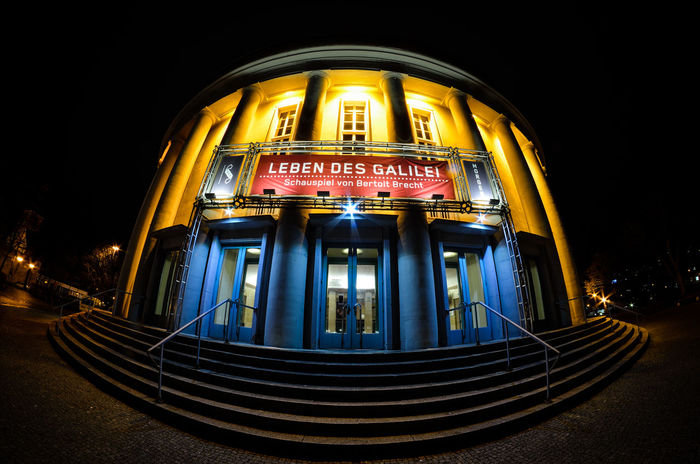 Architecture Arts Culture And Entertainment Building Building Exterior Buildings Built Structure Fish Eye Effect Fish Eye Lens Fish Eye Street Photography Fisheye In Saarbrücken Low Angle View Modern Nacht Nachtaufnahme Nachtfotografie Night Night Lights Night Photography Nightphotography Saarbruecken Learn & Shoot: After Dark Theatre Theatres