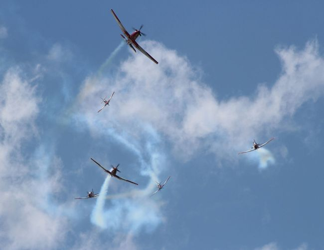 Low Angle View Of Fighter Planes