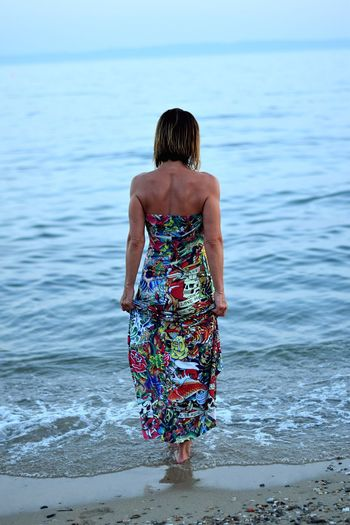 Sea Rear View Water Beach Ankle Deep In Water Real People Day Standing Women Blue Sand Summer Sun