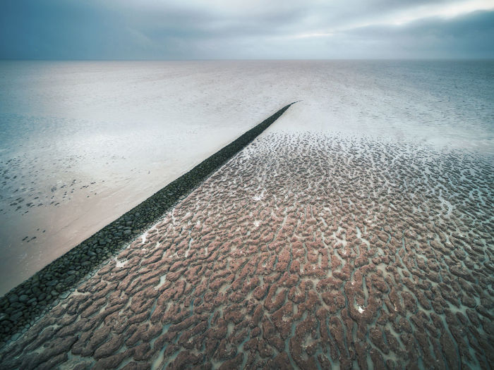 The waddensee in Friesland the netherlands Water Sea Sky Beauty In Nature Tranquility Land Nature Horizon Cloud - Sky Outdoors Tranquil Scene Horizon Over Water Idyllic Aerial View Dronephotography Aerial Photography