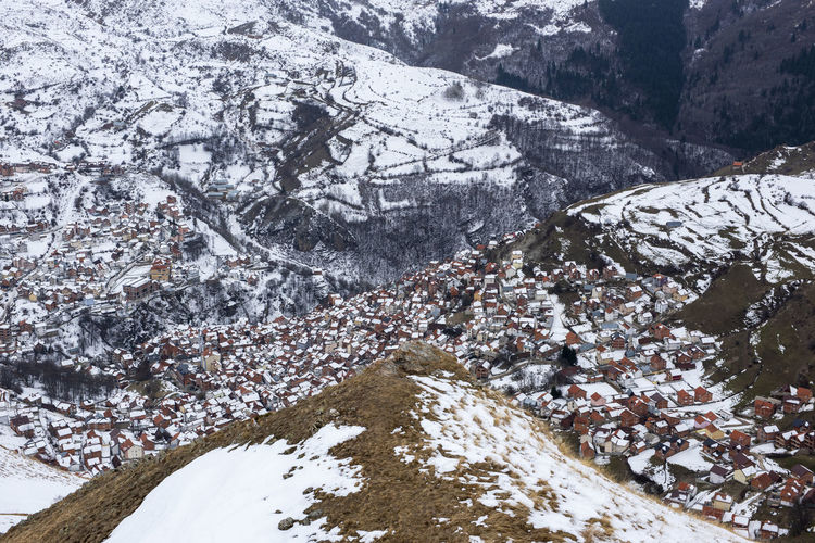 High angle view of snow on mountain