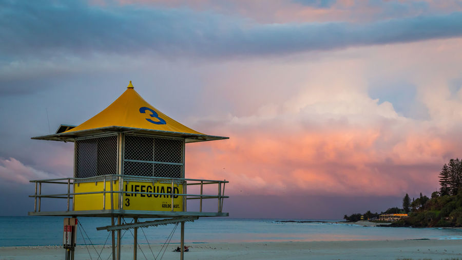 Architecture Australia Australian Landscape Beach Beauty In Nature Building Exterior Built Structure Cloud - Sky Day Lifeguard  Lifeguard Hut Nature No People Outdoors Queensland Safety Sand Scenics Sea Sky Sunset Surface Level Tower Tranquility Water