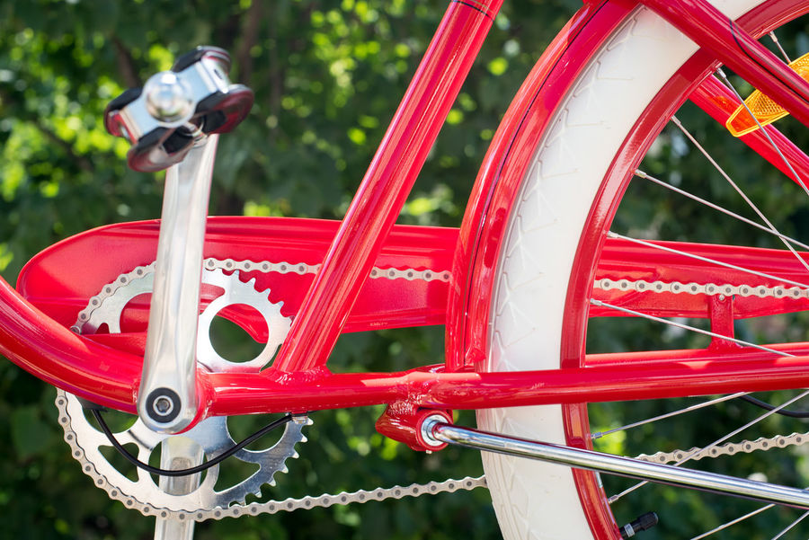Parte of red bicycle frame with chain and pedal Bicycle Bicycle Chain Bicycle Frame Close-up Conceptual Day Ecological Focus On Foreground Green Healthy Lifestyle Means Of Transport Metal Nature No People Outdoors Red Sport Tourism Concept