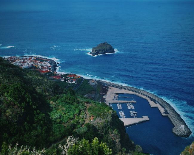 Garachico from high altitude Travel Destinations Travel Photography Travel Island Atlantic Ocean SPAIN Canary Islands Garachico Volcanic Islands Water Sea Blue Beach High Angle View Architecture Coast Ocean Coastline Scenics Rocky Coastline Bay Shore