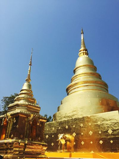 Religion Spirituality Place Of Worship Gold Colored Architecture Building Exterior Built Structure Outdoors Clear Sky Travel Destinations Gold Cultures Sky No People Day Thailand Timeless Chiang Mai Chiang Mai | Thailand Buddhism Temple
