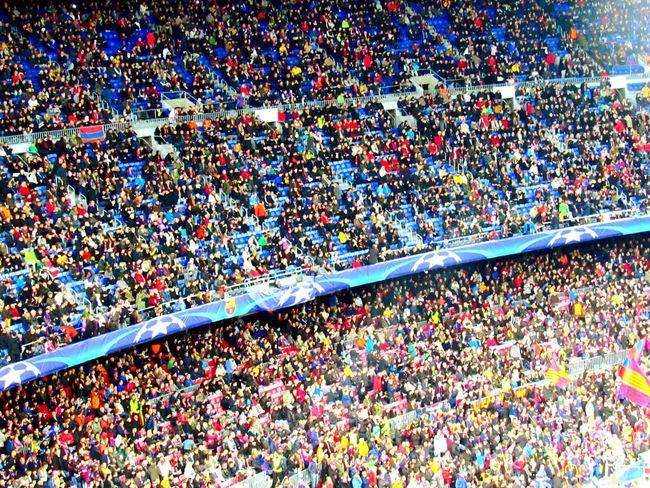 Spirit in colours People Watching Uefachampionsleague Campnou Football Football Stadium Home Cheers Celebration People Photography Holiday EyeEm Best Shots EyeEm Hello World in Barcelona , SPAIN