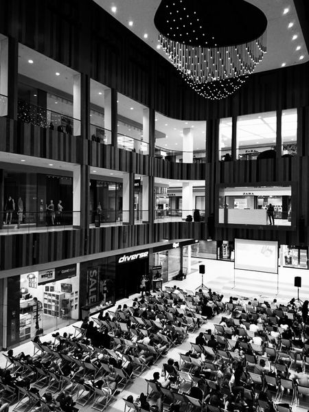 Shopping Center Summer Cinema People Watching Late Night Screening Architecture_collection Chandeliercreative Cinematography Movienight B&W Collection Bydgoszcz, Poland  Group Activity Black & White