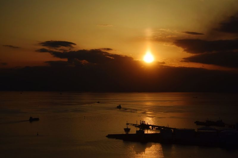 Nikon D3300 景色 一眼レフ 展望台  千葉ポートタワー 夕日 海 水平線 千葉