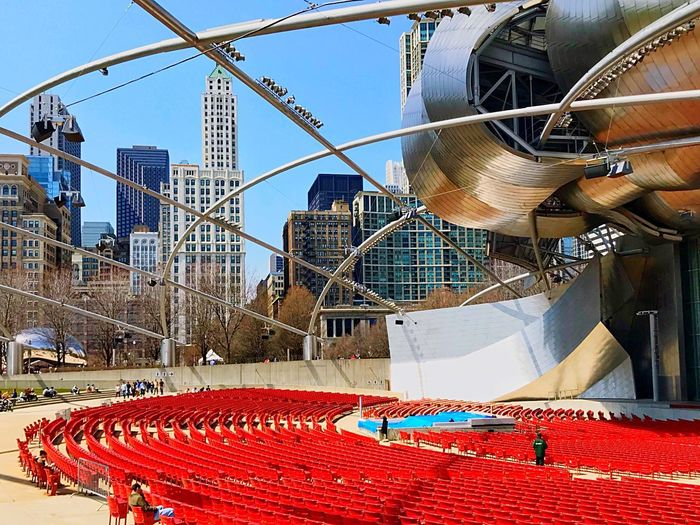 Pritzker Pavillion, summer coming soon📍🈴🔺🔴🔻🔈🎶🎶🎶🔴 Architecture Chicago ♥ Urban Skyline Urban Eyeemphotography EyeEm Best Shots EyeEm USA Cityscape City Chicago Loop Chicago Architecture Chicago Skyline Music Arts Culture And Entertainment Architecture Built Structure Building Exterior Day No People Low Angle View Outdoors