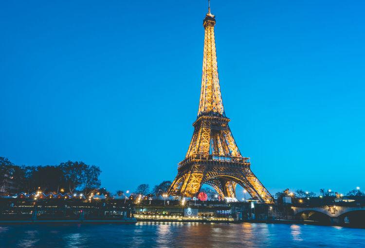 Paris at night! Eiffel Tower Arhitecture France Paris Travel Destinations Tower Seine River Evening Sky Blue Hour Cityscape Iron - Metal Amazing View Glowing Lights