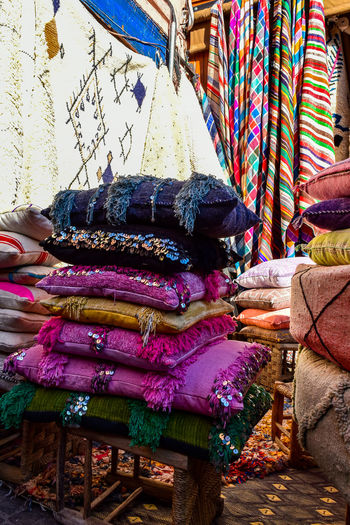 Stack of multi colored for sale in market