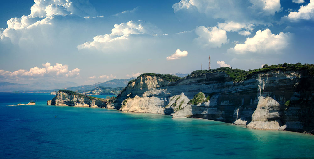 Scenic view of sea and cliffs at corfu island