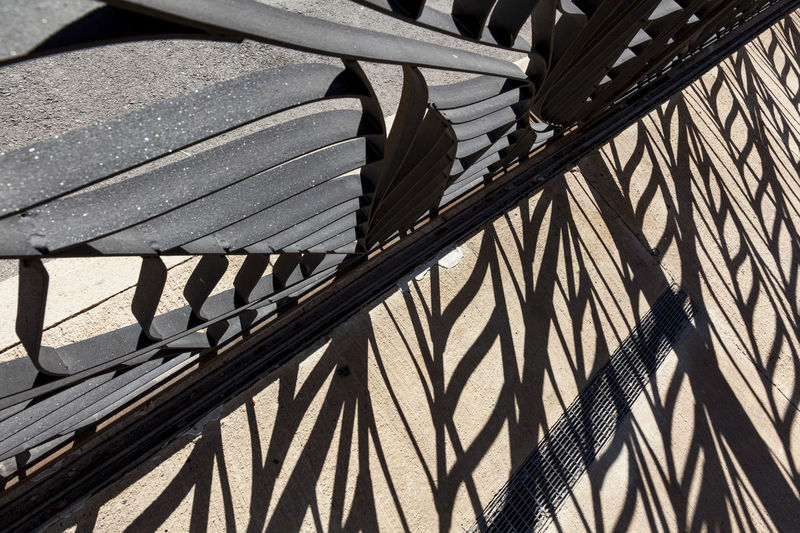 High angle view of metallic railing on roof