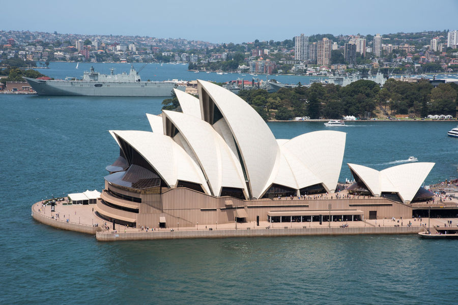 Sydney,NSW,Australia-November 20,2016: Elevated view over the Sydney Opera House, harbour, boats and cityscape in Sydney, Australia. Australia Roof Sydney Opera House Tourists Transportation Architecture Bennelong Point Boat City Cityscape Famous Place Farm Cove Harbor Landmark Military Nautical Vessel Outdoors Parramatta Park Sea Ship Skyscraper Sydney Tourism Travel Destinations Water
