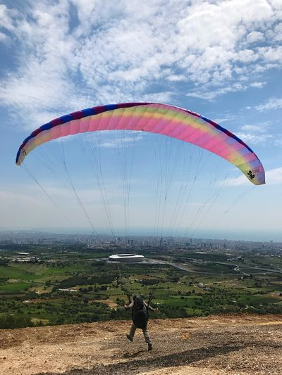 Parachute Sky Leisure Activity Real People Nature Parachute Paragliding One Person Cloud - Sky Water Adventure Extreme Sports Sport Land Lifestyles Day Unrecognizable Person Beauty In Nature Beach Outdoors