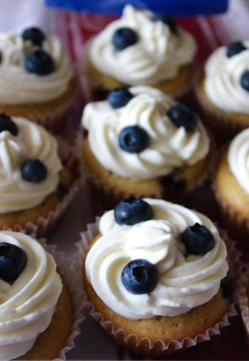 High Angle View Of Blueberry Cupcakes On Table
