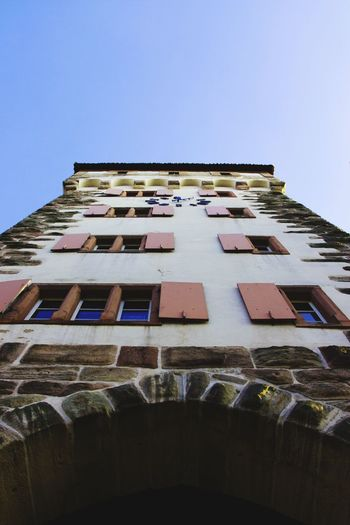Looking up Architecture Built Structure Low Angle View Building Exterior Window No People Clear Sky City Sky St. Alban Vorstadt St. Alban -Tor Basel, Switzerland Medieval Medieval Architecture EyeEm Best Shots Clock Tower
